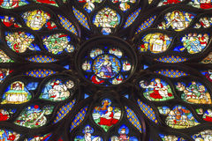 Jesus Sword Rose Window Stained Glass Sainte Chapelle Paris France Arkivfoton