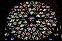 Jesus Sword Rose Window Stained Sainte de vidro Chapelle Paris France fotografia de stock royalty free