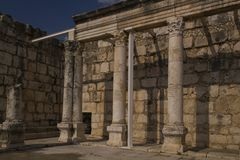 Jesus Synagogue ruins in Capernaum,Israel Royalty Free Stock Images