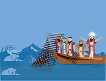 Jesus  talk to some of his followersJesus preaching to the fishermen and asking them to be follow him. Stock Images