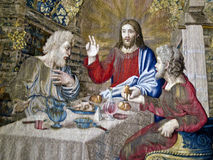 Jesus - tapestry, Vatican Museums. Jesus Meets Disciples, tapestry detail, in Tapestry Gallery, Vatican Museums. The Gallery of Tapestries shows Flemish Royalty Free Stock Photo