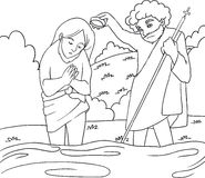 Jesus-Tauf - B/W lineart Lizenzfreies Stockfoto