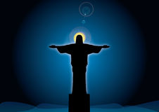 Jesus tegen de hemel Stock Fotografie