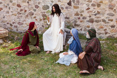 Jesus telling a parable. Jesus preaching to a group of people - historical reenactment Stock Photography