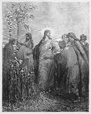 Jesus tells the disciples that they may pick corn. Picture from The Holy Scriptures, Old and New Testaments books collection published in 1885, Stuttgart Stock Photos