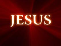 Jesus-Text auf rotem Hintergrund Stockbilder