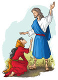 Jesus to Mary of Magdalene. Bible stories. Jesus to Mary of Magdalene. Christian vector art illustration Royalty Free Stock Photo