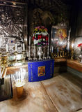 Jesus Tomb inside Church of the Holy Sepulchre, Jerusalem. Jesus Tomb interior, Church of the Holy Sepulchre Heart, Jerusalem royalty free stock images