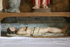 Jesus in the tomb. Altar of the Passion of Christ in the Church of Assumption in Sveta Marija na Muri, Croatia stock image