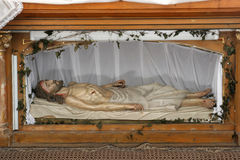 Jesus tomb. Jesus is laid in the Tomb stock images