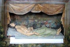 Jesus tomb. Jesus is laid in the Tomb stock photography
