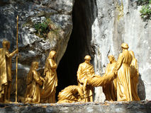 Jesus at tomb statue, Lourdes, France Royalty Free Stock Photos