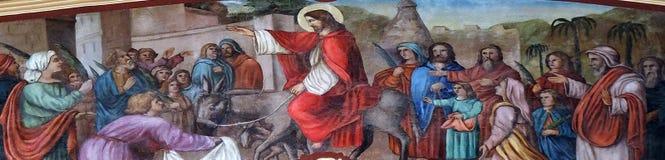 Jesus` Triumphal Entry into Jerusalem. Fresco in the church of Saint Matthew in Stitar, Croatia royalty free stock image