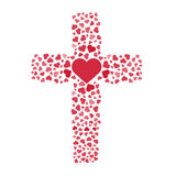 Jesus true love. Cross. Heart. Love. Vector illustration. Royalty Free Stock Photo