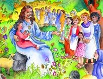 Jesus und die kleinen Kinder | Bibel-Kinder Stockbild