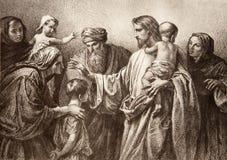 Jesus und Kinder - Stich stockfoto