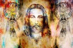 Jesus und schöner Engel, die mit Taube und Zweig, geistiges Konzept sind Jesus stellen im kosmischen Raum gegenüber vektor abbildung