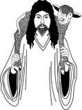 Jesus und Schafe Lizenzfreie Stockbilder