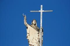Jesus und sein Kreuz Stockfoto