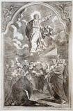 Jesus uppstigning. Lithographytryck i den Missale romanumen vektor illustrationer