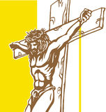 Jesus with vatican background. Jesus with yellow vatican background Royalty Free Stock Photo
