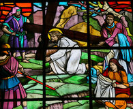 Jesus and Veronica. Stained glass window depicting Jesus on the Via Dolorosa with Veronica and her veil. It is located in the Santos Passos church in Guimaraes Stock Photography