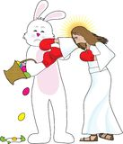 Jesus versus The Bunny Stock Photography