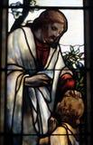 Jesus in vetro Immagini Stock Libere da Diritti