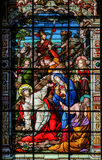 Jesus on the Via Dolorosa - Stained Glass in Malaga Cathedral Royalty Free Stock Photos