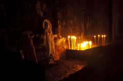 Jesus, Virgin Mary and candles Stock Image