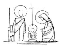 Jesus, Virgin Mary and Saint Joseph at Nativity. Hand drawn vector ink illustration or drawing of Jesus, Virgin Mary and Saint Joseph at Nativity stock illustration