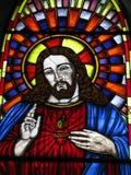 Jesus Vitral kyrka av Virgen del valle Margarita Island Vnezuela Royaltyfria Foton