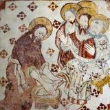 Jesus wäscht die Füße der Schüler Stockbild