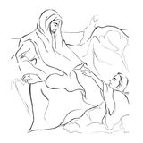 Jesus walk on water and peter; Christianity Bible story illustration in line art Stock Photography