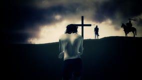 Jesus Walking à cruz e Roman Soldiers ilustração do vetor