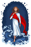 Jesus walking on water. Christian theme. The vector art background is very well-organized in groups Stock Image