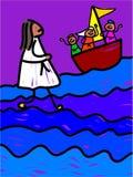 Jesus walks on water vector illustration