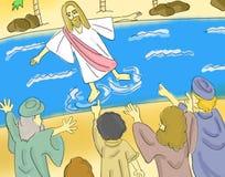 Jesus Walks On The Water-Illustration Lizenzfreie Stockfotos
