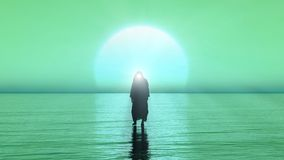 Jesus walks on water, Miracles of Jesus Christ,The prophet of God , 3D Render with green and blue color. Jesus walks on water, Miracles of Jesus Christ,The royalty free illustration