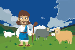 Jesus was a human shepherd cartoon Royalty Free Stock Photography