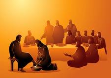 Free Jesus Washing Apostles Feet On Maundy Thursday Stock Photography - 176455722