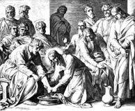 Jesus Washing Disciples-' Füße Stockbilder
