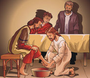 Jesus washing feet Stock Images
