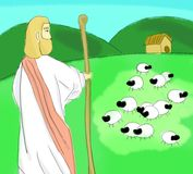 Jesus Watching Over The Sheep Stock Photo