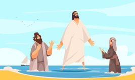 Jesus Water Walking Composition royalty illustrazione gratis