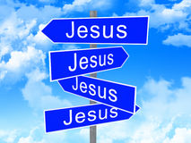 Jesus way. Fine 3d image of classic pointer with jesus text Stock Photo