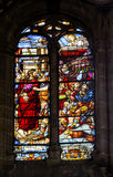 Jesus on Way to Cross Stained Glass Salamanca New Cathedral Spain Stock Photo