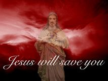 Jesus will save you or salvation. Salvation  is being saved or protected from harm or being saved or delivered from a dire situation. In religion, salvation is Royalty Free Stock Photo