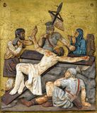 Jesus wird auf das Kreuz, 11. Stationen des Kreuzes genagelt Stockfotografie