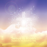 Jesus wird gestiegen, Ostern-Illustration mit Transparenz und Steigungsmasche Lizenzfreie Stockfotografie